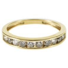 14K Round Brilliant Cut Travel Wedding Band Ring Size 5.25 Yellow Gold [QWQQ]