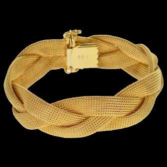 "18K Ornate Mesh Heavy Braid Weave Design Bracelet 7.5"" Yellow Gold  [QWXQ]"