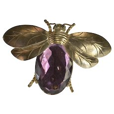 Base Metal Oval Syn. Amethyst Inset Ornate Bee Bug Insect Pin/Brooch   [QWQQ]