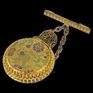 Gold Filled Ornate Enamel Floral Leaf Patterned Perfume Bottle Pin/Brooch   [QWQQ]