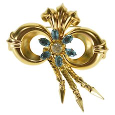 Gold Filled Ornate Floral Rhinestone Cluster 1940's Fringe Scroll Pin/Brooch   [QWQQ]