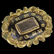 Gold Filled Victorian Scroll Trim Enamel Hair Mourning Brooch Pin/Brooch   [QWQQ]