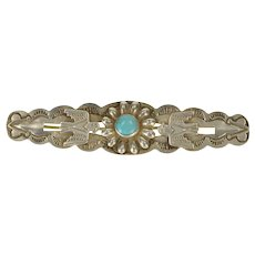 Coin Silver Native American Motif Turquoise Eagle Scalloped Pin/Brooch   [QWQQ]