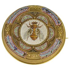 14K Ornate Micromosaic Bumble Bee Round Pin/Brooch Yellow Gold  [QWXQ]