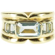 14K Emerald Cut Blue Topaz Five Stone Grooved Ring Size 8 Yellow Gold [QWXQ]