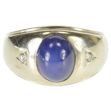 14K Oval Star Syn. Sapphire Diamond Accented Grooved Ring Size 9 White Gold [QWQQ]