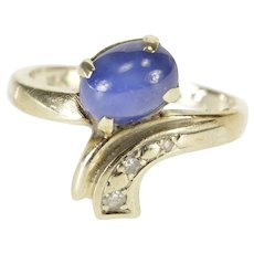 14K Oval Star Sapphire Diamond Accent Retro Bypass Ring Size 5.75 White Gold [QWQQ]