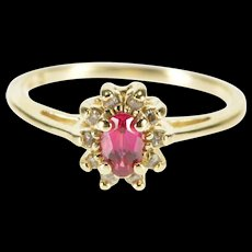 14K Oval Syn. Ruby Inset Diamond Halo Statement Ring Size 5.75 Yellow Gold [QWQQ]