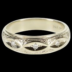 14K Ornate Textured Grooved Diamond Men's Band Ring Size 10.25 White Gold [QWQQ]