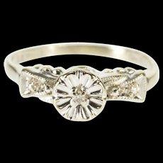 14K Three Stone Floral Design Milgrain Engagement Ring Size 5.5 White Gold [QWQQ]