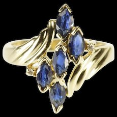 14K Marquise Sapphire Wavy Inset Cluster Freeform Ring Size 6.25 Yellow Gold [QWQQ]