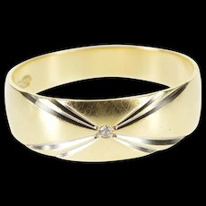 14K Grooved Two Tone Diamond Inset Men's Wedding Ring Size 9.75 Yellow Gold [QWQQ]