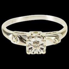14K Diamond Solitaire Scalloped Squared Design Ring Size 5.75 White Gold [QWQQ]