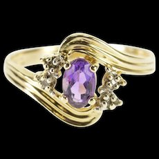 14K Amethyst Diamond Accent Stone Grooved Bypass Ring Size 6 Yellow Gold [QWQQ]
