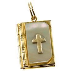 Gold Filled Mother of Pearl 3D Bible Lords Prayer Charm/Pendant   [QWXQ]