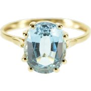 14K Oval Cut Blue Topaz Prong Set Solitaire Ring Size 5 Yellow Gold [QWXQ]