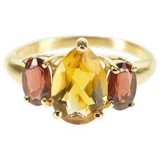 14K Pear Cut Citrine Garnet Three Stone Statement Ring Size 5.5 Yellow Gold [QWXQ]