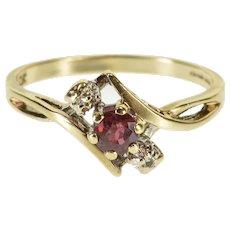 10K Three Stone Diamond Tourmaline Freeform Ring Size 7 Yellow Gold [QWXQ]