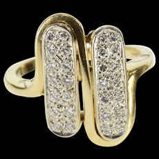 14K 0.50 Ctw Diamond Inset Rounded Oval Statement Ring Size 8.25 Yellow Gold [QWQX]