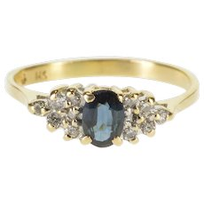14K 0.62 Ctw Sapphire Diamond Cluster Engagement Ring Size 6.75 Yellow Gold [QWQX]