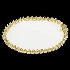 "14K 1.50 Ctw Diamond Curvy Wavy Link Tennis Bracelet 7.25"" Yellow Gold  [QWQX]"