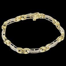 "14K 1.50 Ctw Two Tone Diamond Curved Bar X Link Bracelet 7.1"" Yellow Gold  [QWQX]"