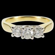 14K 0.85 Ctw Three Stone Trellis Diamond Engagement Ring Size 7 Yellow Gold [QWQX]