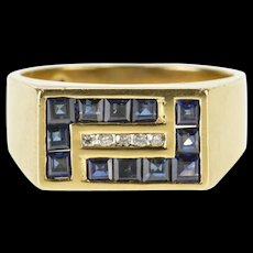 14K 1.55 Ctw Sapphire Diamond Geometric Design Ring Size 9.75 Yellow Gold [QWQX]