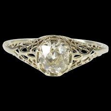 14K 1.25 Ct Art Deco Filigree Diamond Engagement Ring Size 9 White Gold [QWQQ]