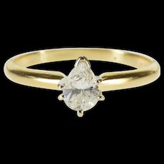 14K 0.57 Ctw Pear Diamond Solitaire Engagement Ring Size 7.75 Yellow Gold [QWQX]