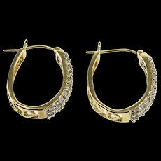 10K 0.60 Ctw Diamond Encrusted Oval Heart Cut Out Hoop Earrings Yellow Gold  [QWQX]