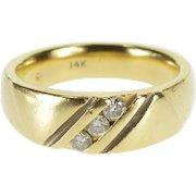 14K Diagonal Channel Inset Diamond Wedding Band Ring Size 9 Yellow Gold [QWXQ]