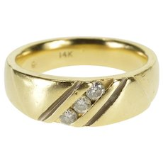 14K Diagonal Channel Inset Diamond Wedding Band Ring Size 9 Yellow Gold [QRXT]