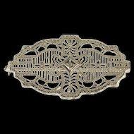 10K Ornate Diamond Inset Decorative Filigree Pin/Brooch White Gold  [QWQQ]