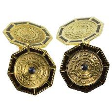 14K Tanzanite Ornate Scroll Pattern Black Enamel Cuff Links Yellow Gold  [QWQX]