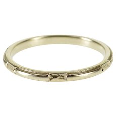14K Art Deco Milgrain Floral Pattern Wedding Band Ring Size 7 White Gold [QWXQ]