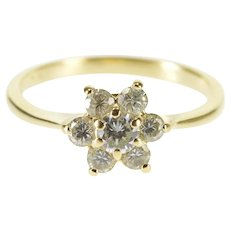 14K Floral Cubic Zirconia Cluster Inset Statement Ring Size 6 Yellow Gold [QWQX]