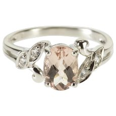 14K Oval Pink Faceted Cubic Zirconia Leaf Motif Ring Size 6.75 White Gold [QWQX]