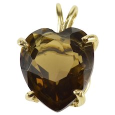 14K Heart Cut Smokey Quartz Solitaire Prong Set Pendant Yellow Gold  [QRXF]