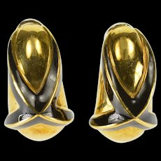 18K Mavito Designer X Black Enamel French Clip EarRings Yellow Gold  [QWQQ]