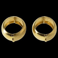 14K Crosshatch Textured Rounded Hoop Clip On Earrings Yellow Gold  [QWQX]