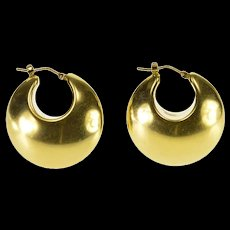 14K Rounded Puffy Hollow Ridged Hoop Earrings Yellow Gold  [QWQX]