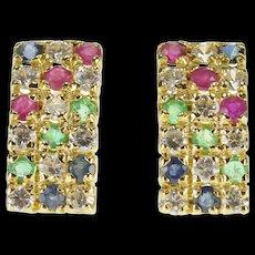 14K Sapphire Emerald Ruby Cubic Zirconia Inset Stud Earrings Yellow Gold  [QWQX]