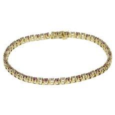 "10K Ruby Diamond Prong Inset Tennis Bracelet 7"" Yellow Gold  [QRXF]"