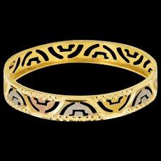 22K Tri Tone Wavy Pattern Cut Child's Bangle Bracelet Size 5.5 Yellow Gold [QWQX]