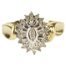 10K 0.29 Ctw Pointed Oval Halo Cluster Statement Ring Size 7 Yellow Gold [QWQQ]