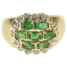 14K Oval Emerald Cluster Diamond Halo Statement Ring Size 5.75 Yellow Gold [QWQX]