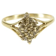 10K Pointed Diamond Encrusted Cluster Statement Ring Size 6 Yellow Gold [QWQX]