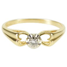 14K Diamond Heart Cut Out Promise Engagement Ring Size 5.75 Yellow Gold [QWQX]