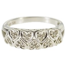 10K Patterned Diamond Inset Heart Cluster Band Ring Size 6.75 White Gold [QWQX]